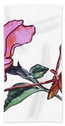 Pink Hibiscus And Geranium  Beach Towel