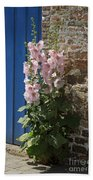 Pink Hollyhocks Growing From A Crack In The Pavement Beach Towel