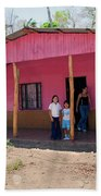Pink House In Costa Rica Beach Towel