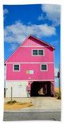 Pink House On The Beach 3 Beach Towel