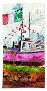 Pink Irish Boat Beach Towel