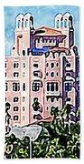 Pink Lady Don Cesar Watercolor Beach Towel