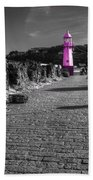 Pink Lighthouse Of St Ives Beach Towel