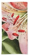 Pink Lily Close Up Beach Towel