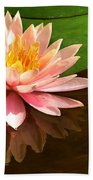 Pink Lily Reflection 4 Beach Towel