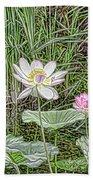 Pink Lotus  Beach Towel