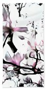 Pink Magnolia - In Black And White  Beach Towel