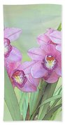 Pink Orchid Photo Sketch Beach Towel
