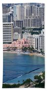 Pink Palace Waikiki Honolulu Beach Towel