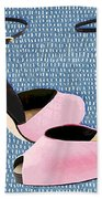 Pink Patent Leather With Sculpted Metal Heels Beach Towel