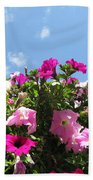 Pink Petunias In The Sky Beach Towel