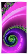 Pink Purple And Green Fractal Spiral Beach Towel