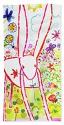 Pink Rabbit Beach Towel