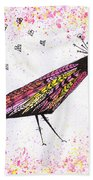 Pink Raven With Heart Beach Towel