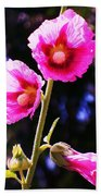Pink Red Flower Beach Towel