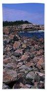 Pink Rock Shoreline Beach Towel