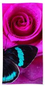 Pink Rose And Black Blue Butterfly Beach Towel