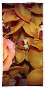 Pink Rose And Yellow Orchids Beach Towel