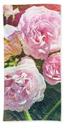 Pink Rose Artwork Beach Sheet