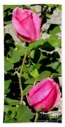 Pink Rose Buds Beach Sheet