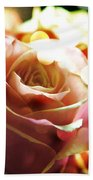 Pink Rose In Sparkling Lights Beach Towel