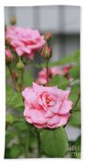 Pink Rose With Buds Beach Towel