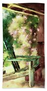 Pink Roses On The Porch Beach Towel