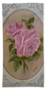 Pink Roses Oval Framed Beach Sheet