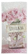 Shabby Chic Dreamy Pink Roses - Cottage Chic Pink Romantic Roses In Jar  - Dream Roses Beach Towel