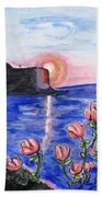 Pink Sunset Beach Towel
