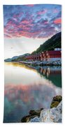 Pink Sunset Over A Lagoon In Norway Beach Towel