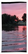 Pink Sunset With Soft Waves In Black Framing Beach Towel