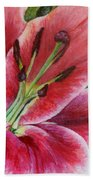 Pink Tiger Lily Beach Towel