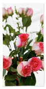 Pink Trimmed Roses Beach Towel