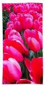 Pink Tulips Beach Towel