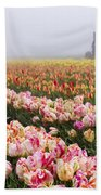 Pink Tulips And Tractor Beach Towel