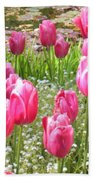 Pink Tulips By Peaceful Pond Beach Towel