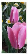 Pink Tulips Beach Sheet