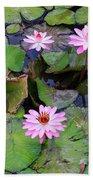 Pink Water Lilies Beach Towel