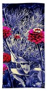 Pink Zinnia's Against A Silver Background Beach Towel