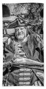 Pirate Captain And Parrots Black And White Beach Towel