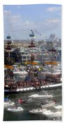 Pirate Ship And Flotilla Beach Towel