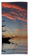 Pirate Ship At Sunset Beach Towel