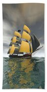 Pirate Ship On The High Seas Beach Towel