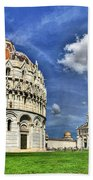 Pisa - Baptistry Duomo And Leaning Tower Beach Towel