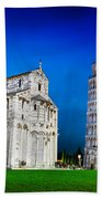 Pisa Cathedral With The Leaning Tower Of Pisa, Tuscany, Italy At Night Beach Towel