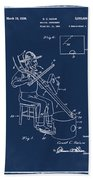 Pitch Fork Fiddle And Drum Patent 1936 - Blue Beach Towel