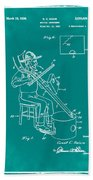 Pitch Fork Fiddle And Drum Patent 1936 - Green Beach Towel