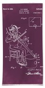 Pitch Fork Fiddle And Drum Patent 1936 - Red Beach Towel