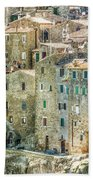 Pitigliano Houses Closeup Grosseto Tuscany Beach Sheet
